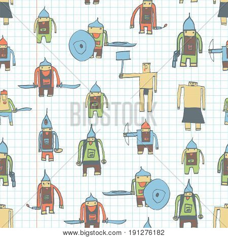 Hero Seamless Pattern. Neat Child's Drawing With School Pen. Cute Hero Hand Drawn With Color On Math
