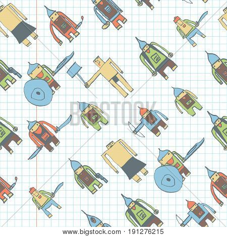 Hero Seamless Pattern. Impressive Child's Drawing With School Pen. Cute Hero Hand Drawn With Color O