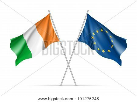Ireland and European Union waving flags on flagpole. EU sign with twelve gold stars on blue and Ireland national symbol green, white and ofange colors. Two flags isolated on white background