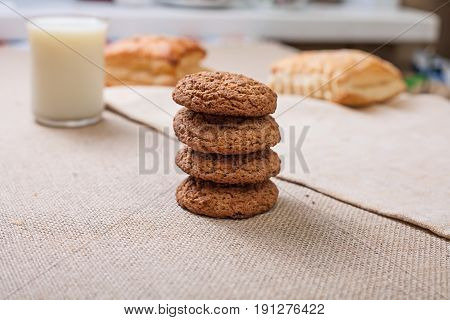 Pyramid of cookies. Oatmeal cookies close-up. Cookies on the table.
