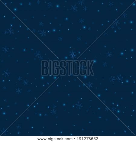 Sparse Glowing Snow. Chaotic Scatter Lines With Sparse Glowing Snow On Deep Blue Background. Vector