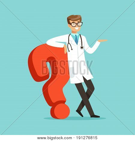 Smiling male doctor character standing and leaning against the big question mark character vector Illustration on a light blue background