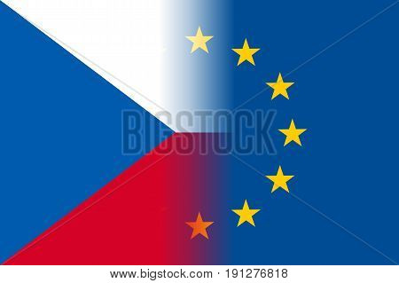 Czech Republic national flag with a flag of European Union twelve gold stars, identity and unity with EU, member since 1 May 2004. Vector flat style illustration