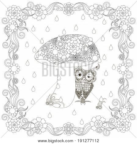 Monochrome doodle hand drawn owl under mushroom in flowers frame. Anti stress stock vector illustration