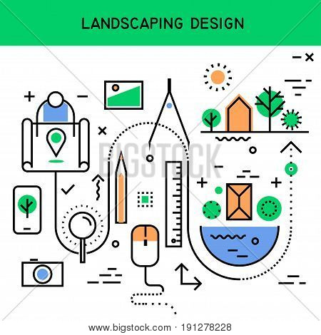 Vector flat line abstract process illustration of landscaping design beautification territory planning. Concept for website header banner layout presentation.