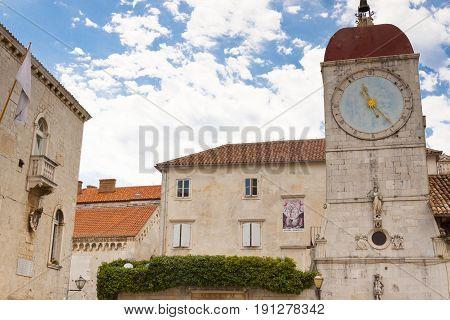 Clock tower on city hall in Trogir Croatia.