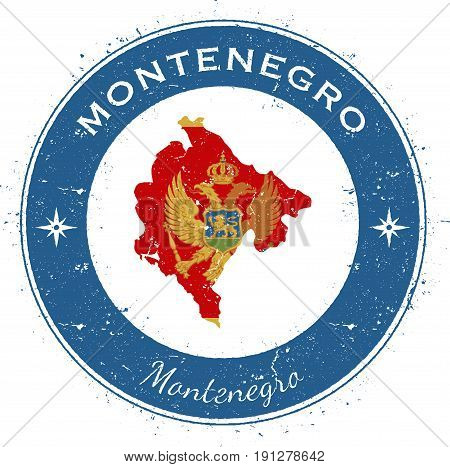 Montenegro Circular Patriotic Badge. Grunge Rubber Stamp With National Flag, Map And The Montenegro