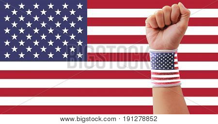 USA flag clenched fist Concept independence day.
