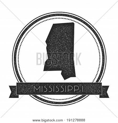 Mississippi Vector Map Stamp. Retro Distressed Insignia With Us State Map. Hipster Round Rubber Stam