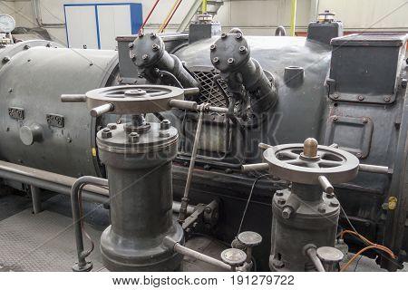 View on Old steam turbine - Poland.
