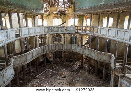 Interior of old Evangelical church in Zeliszow village Poland Europe.