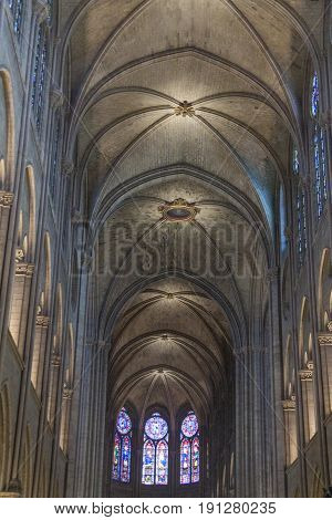 PARIS FRANCE - APRIL 26: Interior of the Notre Dame de Paris on april 26 2013 in Paris.The cathedral of Notre Dame is one of the top tourist destinations in Paris