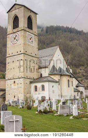 Old beauty church of St. John in Mustair UNESCO World Cultural Heritage Switzerland