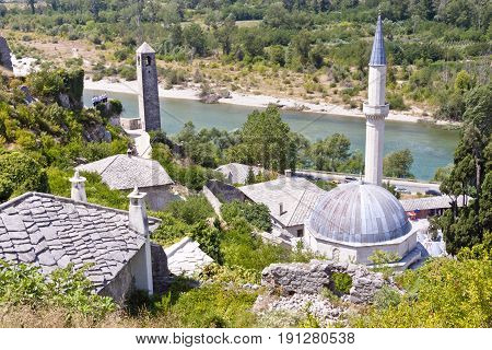 Pocitelj village in Bosnia and Herzegovina Balkans. Summer day.