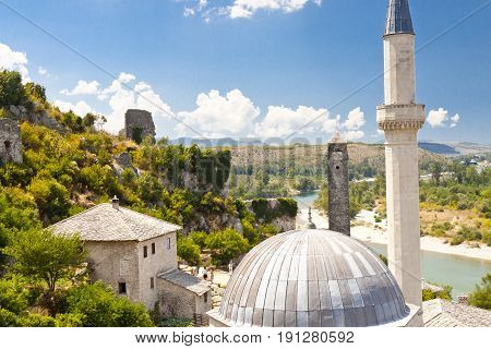 View on roof of mosque in Pocitelj - Bosnia and Herzegovina Balkans.