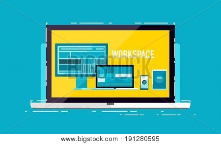 Mobile workspace devices concept on laptop screen -, smartphone, tablet, laptop and visual display. Modern flat design illustration with line elements