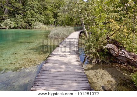 Wooden narrow pathway on the lakes in Plitvice Croatia Europe.