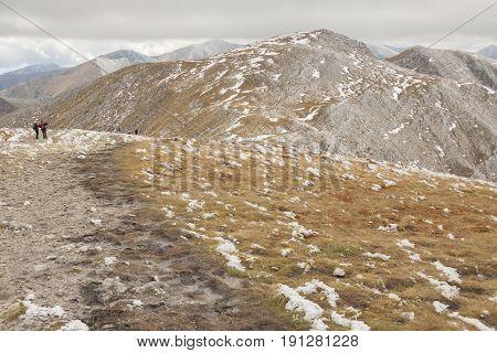 View from Malolaczniak - Tatras Mountains. Autumn cloudy day.