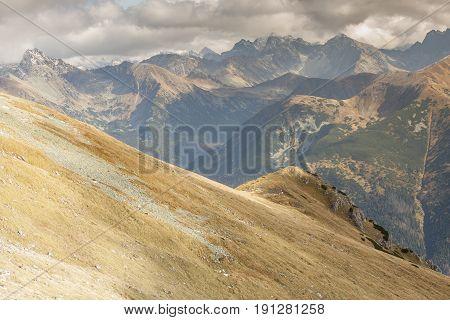 View from Ciemniak - Polish Tatras Mountains. Autumn day.