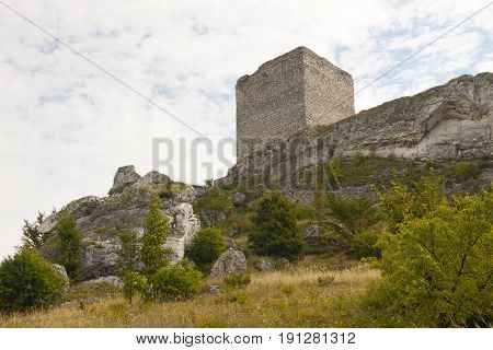Old ruins - castle in the Jura region Poland Silesia.