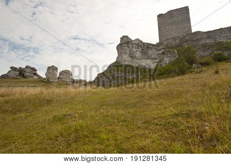 Olsztyn in the Jura region. View on old castle. Poland Silesia.