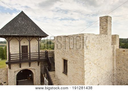 View on gate and wall to Bobolice Castle - Poland.