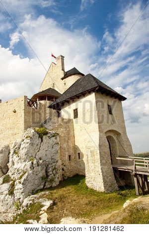 Bobolice castle view of front. Polnad Silesia.