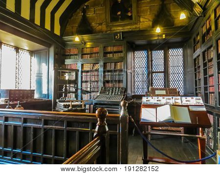 MANCHESTER, UNITED KINGDOM - NOVEMBER 4, 2013: Interior of Chetham's Library. Oldest free public reference library in the United Kingdom. Library since 1653 housing thousands of books and manuscripts