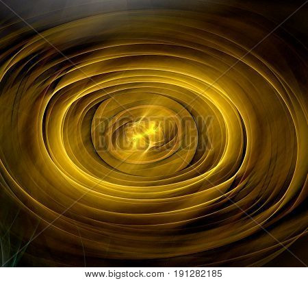 Abstract Fractal Background Oval Shape. Gold Shades
