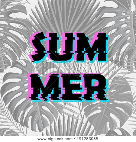 Sign summer sale with distorted glitch effect. Trendy style lettering typeface. Words summer sale with tropical exotic palm leaves. Digital image data distortion Vector illustration stock vector.