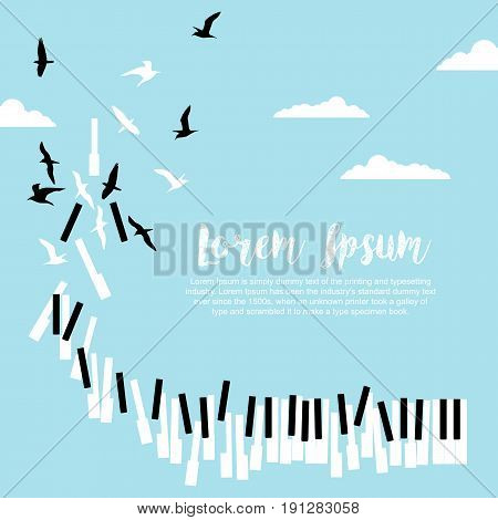Poster for music festival or concert with the piano keys and flying birds in blue sky with clouds and space for text