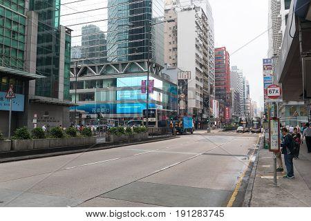 KOWLOON HONG KONG - APRIL 21 2017: Morning at Nathan Road Mong Kok in Kowloon Hong Kong.