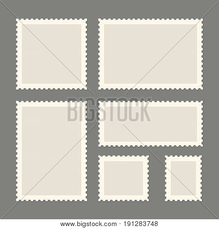 Postage stamps template. Blank rectangle and square postage stamps. Flat style modern vector illustration with retro colors. For for envelopes or letter retro style paper.