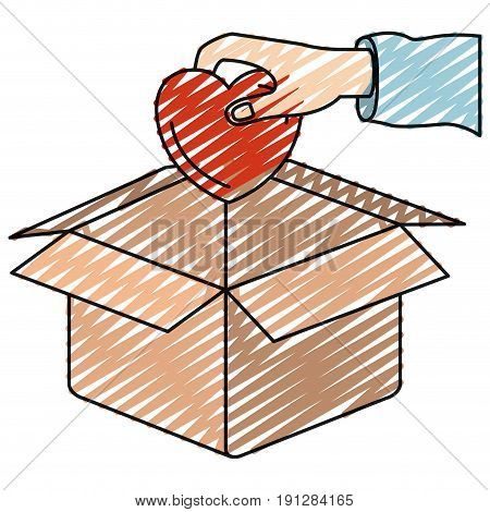 color crayon silhouette hand holding a heart to deposit in cardboard box vector illustration