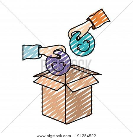 color crayon silhouette side view of pair hands holding a happy faces symbol to deposit in cardboard box vector illustration