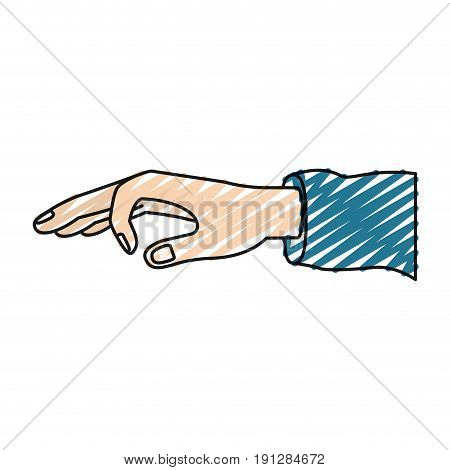 color crayon silhouette hand of symbol of deposit in someone vector illustration