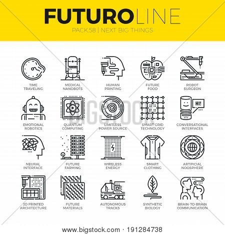 Unique thin line icons set of new future innovations in technology. Premium quality outline symbol collection. Modern linear pictogram pack of metaphors. Stroke vector logo concept for web graphics.
