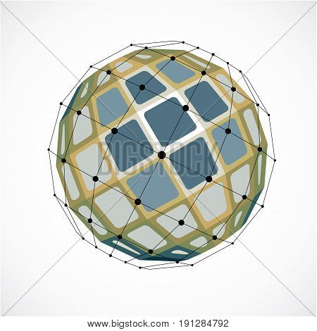 Perspective technology shape with black lines and dots connected polygonal wireframe object. Abstract colorful faceted element for use as design structure on communication technology theme