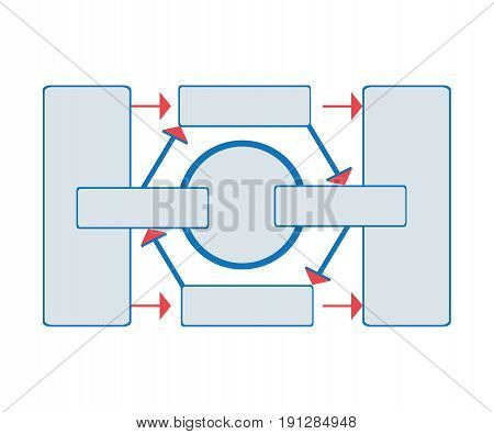 Workflow diagram, working algorithm or structure of organization. Vector illustration, isolated on white background.