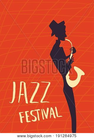 Poster for jazz music festival or concert. The musician plays the saxophone. Silhouette on red background.