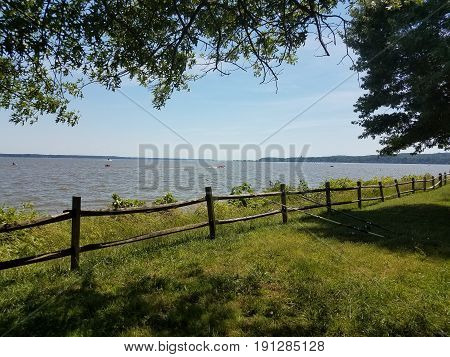 trees and grass with river and wood fence and fishing poles