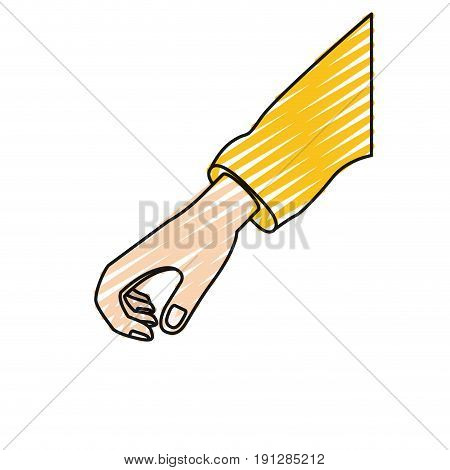color crayon silhouette hand of symbol of giving vector illustration
