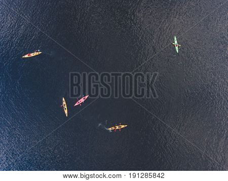 A Process Of Kayaking In The Lake Skerries, With Canoe Kayak Boat, Process Of Canoeing, Aerial Shot