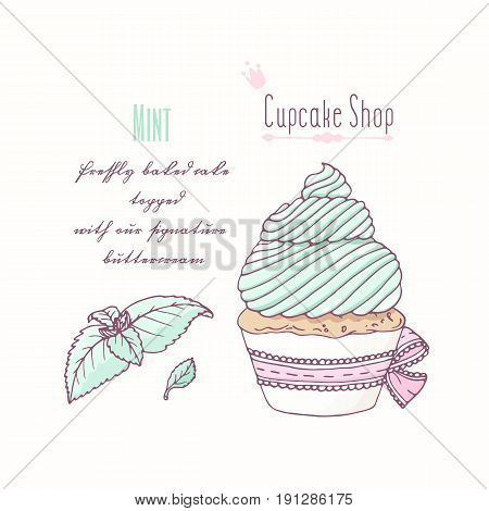 Hand drawn cupcake with doodle buttercream for pastry shop menu. Mint flavor. Vector illustration