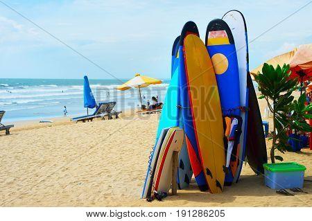 Surf Equipment On The Beach
