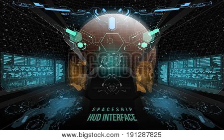 View from the cockpit spaceship. Head-up display elements for the Spaceship interface. Template UI for app and virtual reality.