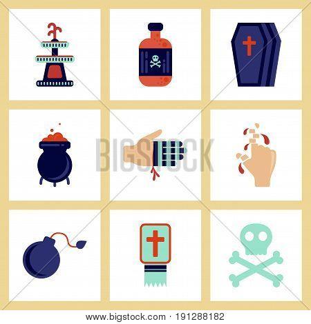 assembly of flat icons Halloween symbols magic