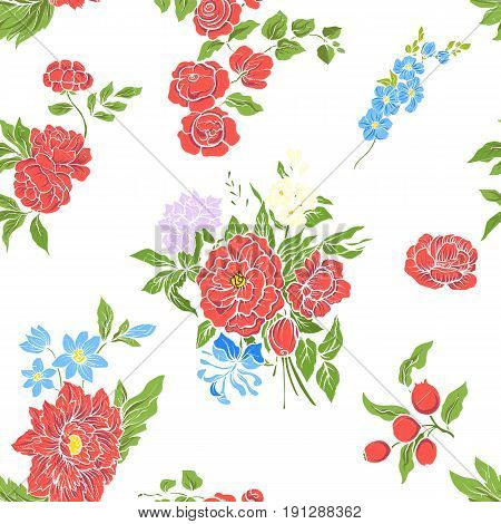 Seamless pattern with vintage embroidered flowers in vintage style on white background.Stock line vector illustration.