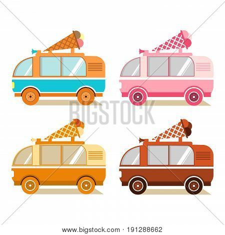 A set of vans on sale and delivery of ice cream truck with a wafer cup on a roof in flat style. Side view. Street food and mobile shop.Concept design of an icon for infographics and online stores.