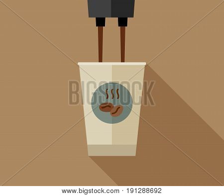 Coffee making with paper cup. Flat banner of coffee paper cup with long shadow.